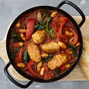 Lincolnshire Tofu Sausages Tomato and Pepper Cassoulet