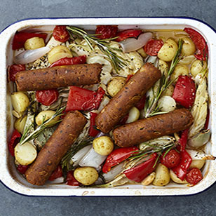 Spicy Tomato Tofu Sausages Tray Bake